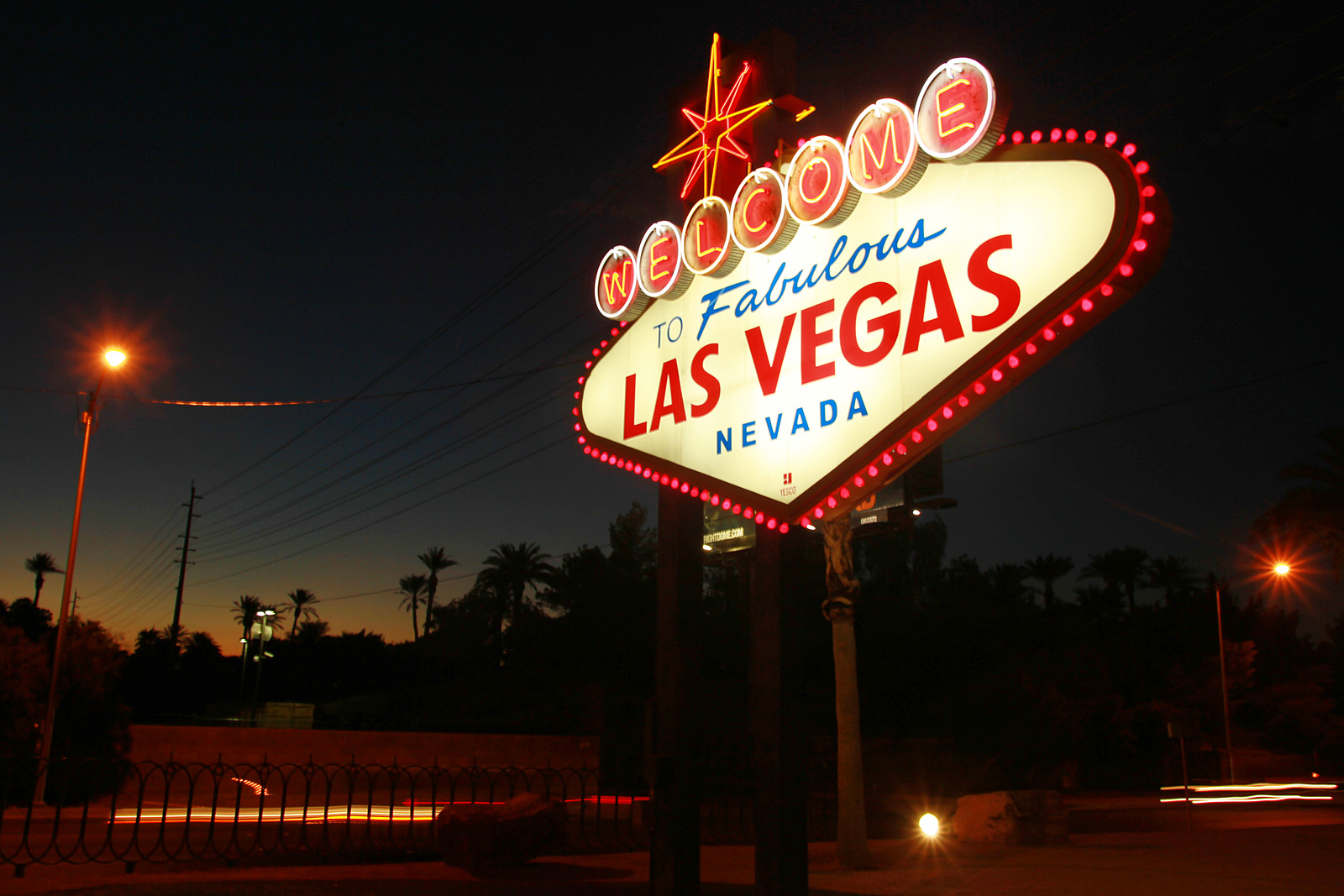 "The ""Welcome to Las Vegas"" sign is outlined in pink lightbulbs in honor of breast cancer awareness Thursday, Oct. 4, 2012."